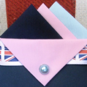 Navy, Pink and Blue Hankie With Pink Flap and Pin